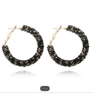Black large crystal hoop earrings